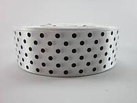 Лента атлас в горошек 25 мм. * 1 м. (Белый)