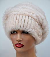 """Норковая шапка женская меховая на вязаной основе """"Вязаный берет Шарик"""", фото 1"""