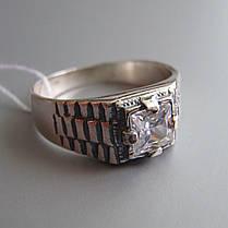 Стильная серебряная мужская печатка с фианитом, 4,4 грамма, фото 2