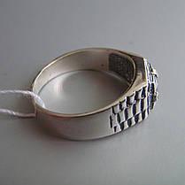 Стильная серебряная мужская печатка с фианитом, 4,4 грамма, фото 3
