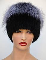 """Женская меховая шапка из ондатры """"Нашивка-звёздочка"""", фото 1"""