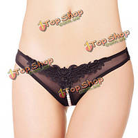 Дамы сексуальный жемчужные бусины Crotchless сетки ремешки г-стринги белье