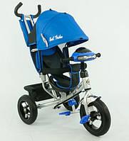 Детский велосипед с ручкой 6588 В, с надувными колесами, фара, синий