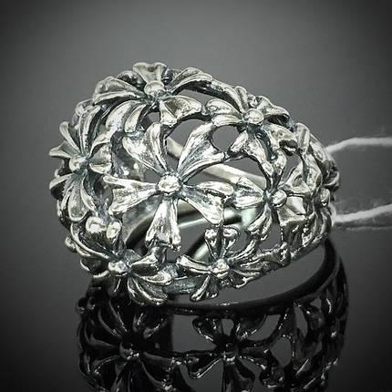 Серебряное кольцо с орнаментом в виде цветов, фото 2
