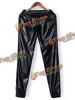 Повседневный faux женщин кожаные брюки elastric талии свободные брюки