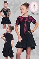 Платье для тренировок и выступлений с гипюровой отделкой