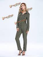 Случайные женщины нагрудные армия зеленая кнопка карманы длинный комбинезон комбинезон