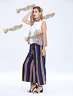 Марочные лук пояса полоса разрезанные высокой талии женщины широкие брюки ноги