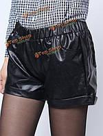 Женщины моды черный эластичный пояс кожа PU плиссированные короткие штаны