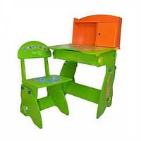 Парта, растущая с ребенком Bambi W 075, регулировка стола/стула по высоте, отсек для мелочей, шкафчик