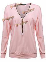 Свободные сексуальные розовые / черный / зеленый женщин V шеи молния блузку