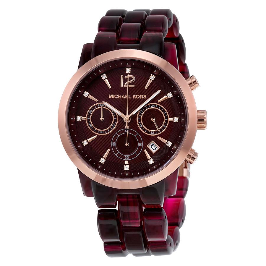 Часы Michael Kors Audrina Burgundy Acetate And Rose Gold-Tone MK6237