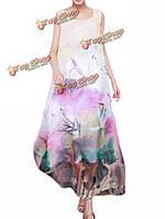 Элегантные женское в китайском стиле без рукавов печати шифон макси платье