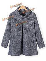 Women Fashion High Collar Double Pockets Loose Hem Pullover Sweater