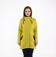 Женское демисезонное пальто-парка из шерсти