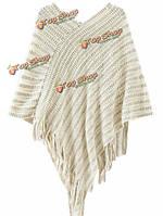 Женщин V-образным вырезом batwing нерегулярные полосы бахромой вязаный свитер