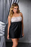 Эротическая сорочка большого размера Passion LARISA CHEMISE черная, Черный, 4XL\5XL