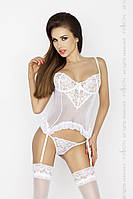 Женский прозрачный корсет Passion Erotic Line JANET CORSET белый , Белый, S\M