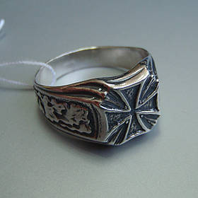Серебряная мужская печатка с крестом, 9 грамм