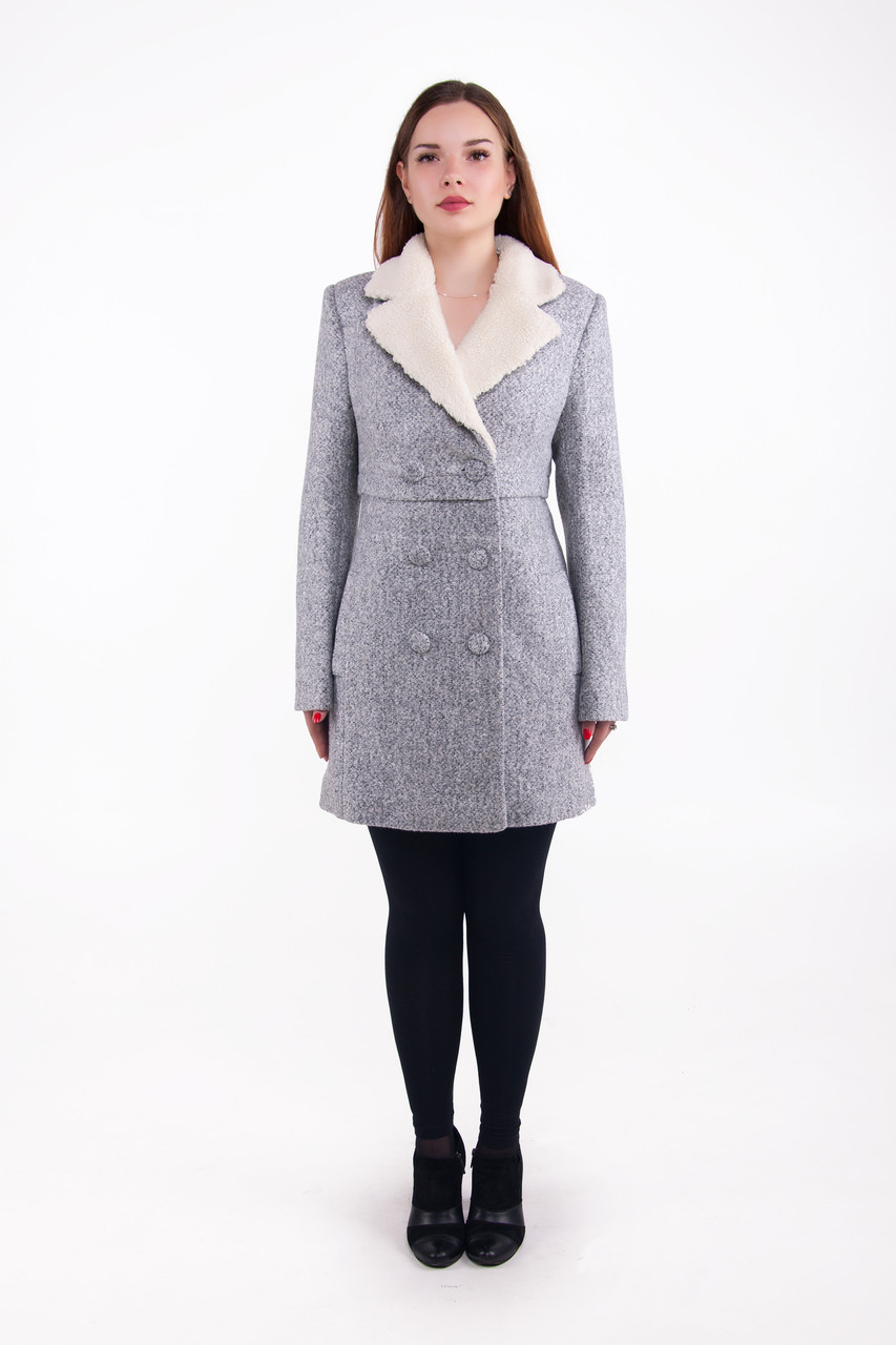Женское зимнее пальто из шерсти с мехом р. 48