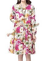 Цветок хризантемы случайные женщин печатных плиссированные Платье коктейльное