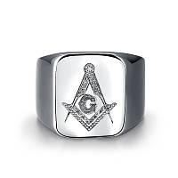 Перстень нержавеющая сталь масонский символ