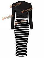 Женщины сексуальное платье с длинным рукавом черный полосатый платье партии два кусок футболку юбка костюм