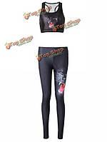 Сексуальные женщины 3d тигра напечатаны эластичный фитнес Yoga тренажерный зал спортивный костюм