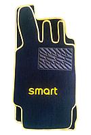 Текстильные коврики на SMART увеличенные желтый рант