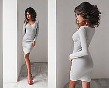 Т1082 Платье ассиметрия замш  в расцветках, фото 2