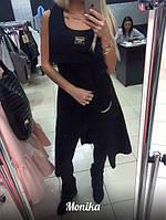 Женский жилет удлиненный с карманами и аппликацией вязка ангора черный 5045/3 МТ