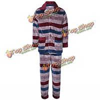 Зимняя мужская фланель утолщаются цветных полосок с длинными рукавами кнопка пижамы набор пижамы