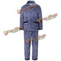 Мужчины зимой фланель утолщаются лаунж- износа пижамы пижамы набор 5 цветов