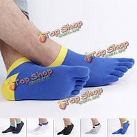 Мужская летняя сетка тонкая вскользь спортивная лодыжки дышащие дезодорирующие лодка носки пять пальцев носки
