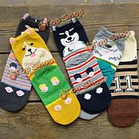 Мода мужская женщин унисекс мультфильм собака носки хлопка чулочно-носочные изделия вскользь чулки