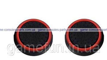 PS4 силіконові накладки на стіки dualshock 4 (Black-Red) (2шт)