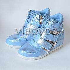 Демисезонные сникерсы, ботинки для девочки голубые 30р. JiLi