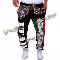 Мужчины падают смеси хлопка итальянский флаг печати случайные свободные брюки тренировочные брюки спортивные