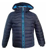Легкая зимняя куртка парка для мальчика т.синий голубой, 4XL