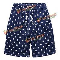 Мужская женщины Жанетт голубые звезды напечатать пару пляж шорты