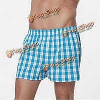 Лето мужской хлопок пляжные шорты случайные плед свободные удобные брюки бытовая стрелка