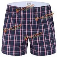 Мужские пляжные шорты боксера хлопка плед свободные удобные бытовые стрелка брюки