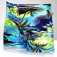 Мужчины кокосовой пальмы печати плавки спортивные шорты внутренние боксеры купальные костюмы