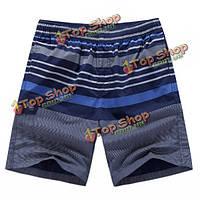 Мужские хлопок летом полосы печати колен шорты случайные пляж для купания шорты