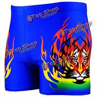 Мужчины огонь тигр печати плавки спортивные шорты внутренние боксеры