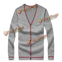 Мужчины контрастного цвета V-образным вырезом свитер джемпер свитер топы трикотаж
