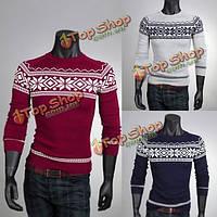 Моды для мужчин свитер экипажа шею ретро узоры пуловер трикотаж