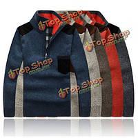 Мужской повседневный вязаный свитер пуловер