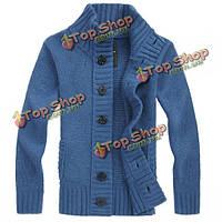Мода мужская повседневная сгущает кардиган вязаная свитер