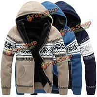 Мужские плюс толстый теплый с капюшоном на молнии свитер джемпер пальто